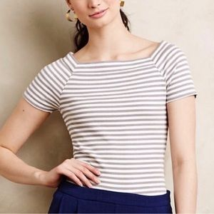 Anthropologie | Postmark Striped Ribbed Top